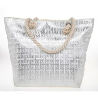 Glam Rope Handled Silver Metallic Geometric Beach Tote Bag
